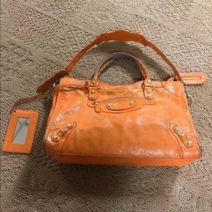 BALENCIAGA Classic Studs City Leather Orange Bag